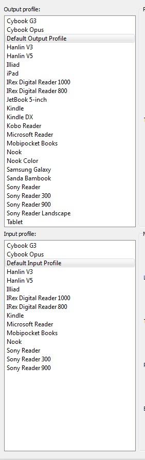 Input/Output options