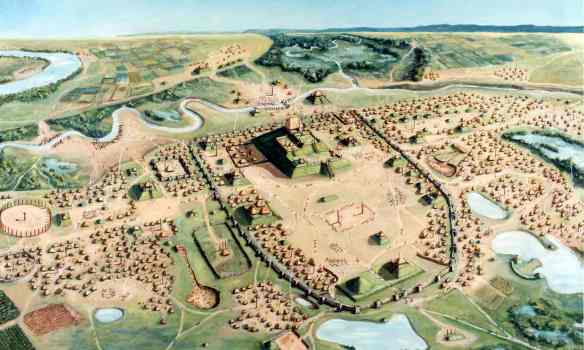 The Cahokia site covered an area of nine square miles. Illustration: William R Iseminger