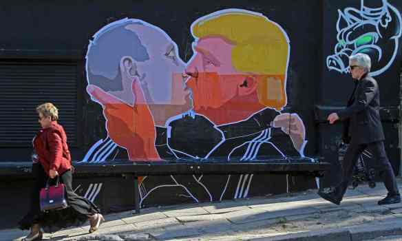 A mural in Vilnius depicting Donald Trump and Russian President Vladimir Putin. Photograph: Petras Malukas/AFP/Getty Images