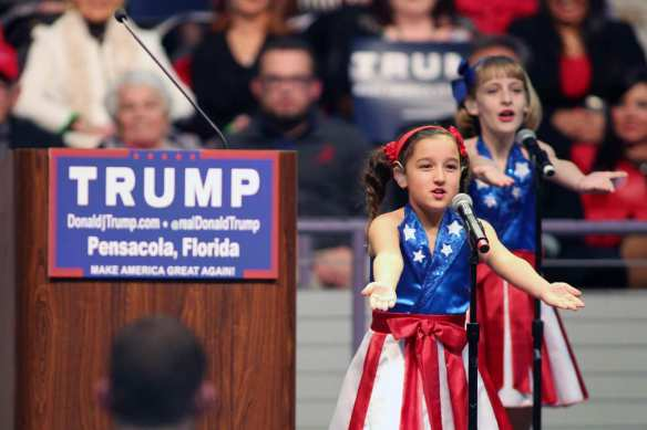 The USA Freedom Kids perform at a Trump rally. Photo: Michael Snyder/AP