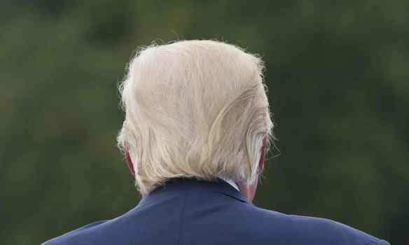 Trump's famous bouffant, blond comb-over adds to his clown-like image. Photograph: Saul Loeb/AFP/Getty Images