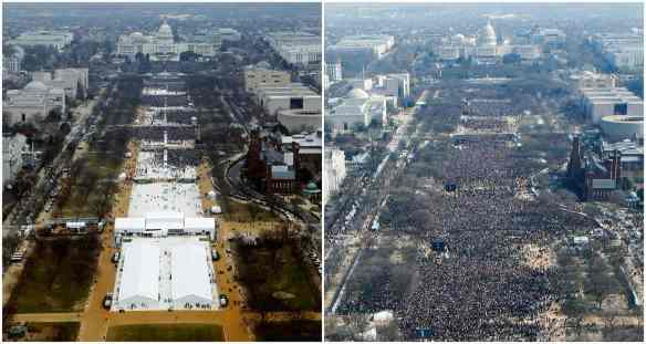 Crowds on the National Mall just before Donald Trump's inauguration in 2017 (left) and Barack Obama's in 2009. Photograph: Reuters