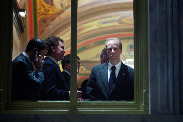 Stephen A. Feinberg, right, a founder of Cerberus Capital Management, at the Capitol in December 2008. He is said to be in talks for a White House role examining the country's intelligence agencies. Credit Brendan Smialowski for The New York Times