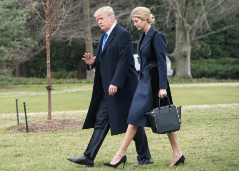 President Trump and his daughter Ivanka walk to board Marine One at the White House on Feb. 1, 2017. (Nicholas Kamm/AFP/Getty Images)