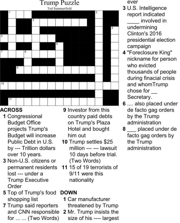 Ted Summerfield's Trump Crossword Puzzle. Free.
