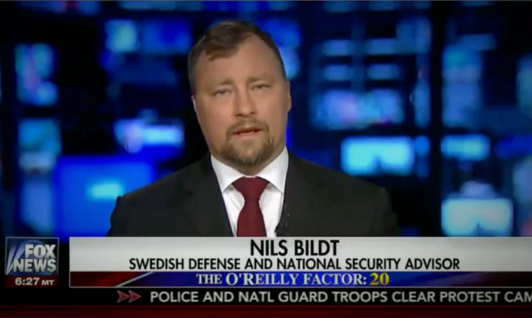 Nils Bildt appears on Fox News on Thursday 23 February billed as 'national security advisor'. Photograph: Fox News