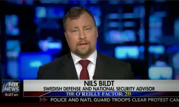 Nils Bildt appears on Fox News on Thursday 23 February billed as 'national security advisor'. Photograph: Fox News