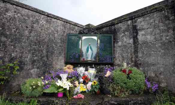 The shrine erected in memory of the up to 800 children allegedly buried at the site of the former home. Photograph: Paul Faith/AFP/Getty Images